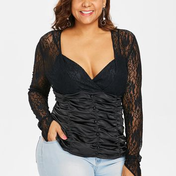 Wipalo Plus Size Button Embellished Lace Panel Ruched T-Shirt Women Deep V Neck Long Sleeve Casual T Shirt Fall Spring Lady Tops