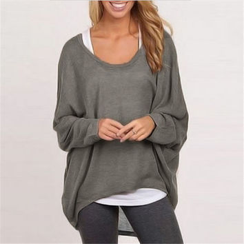 Autumn Women's Blouse Long Sleeve Casual Loose Solid Sweater