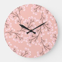 cherry blossom peach large clock | Zazzle.co.uk