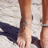 Barefoot Sandals Layered Water-drop Anklet (Size: 22 cm, Color: Silver) = 6174390019