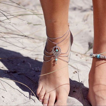 Barefoot Sandals Layered Water-drop Anklet (Size: 22 cm, Color: Silver) = 5613039425