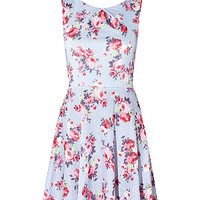 Light Blue Textured Floral Skater Dress