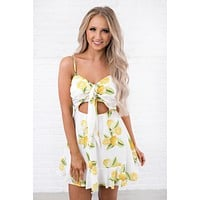 Life With Zest Lemon Print Dress (White)