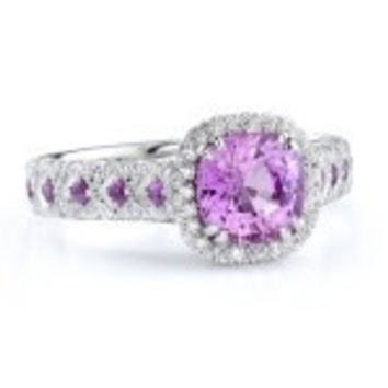2.72ct Pink Sapphire Diamond Engagement ring Wedding Gift 18kt White Gold JEWELFORME BLUE