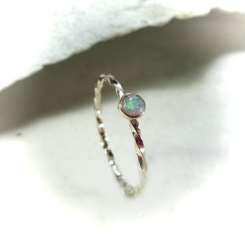 Stacking Ring Gold Twist with White Fire Opal