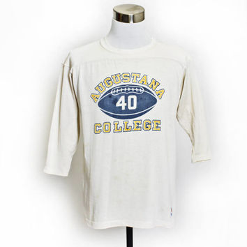 Vintage 1960s T-Shirt - Champion Knit Beige Jersey Augustana College Football Tee - Medium / Large