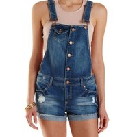 Button-Up Distressed Denim Shortalls