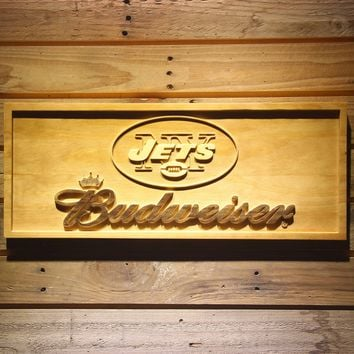 New York Jets Budweiser Beer 3D Wooden Bar Sign