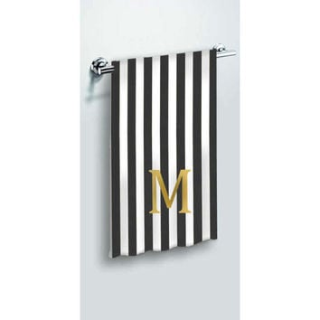Personalized Custom Black White Hand Towels, Bath Towels, or Beach Towel  Monogrammed Initial Letter Bathroom Decor