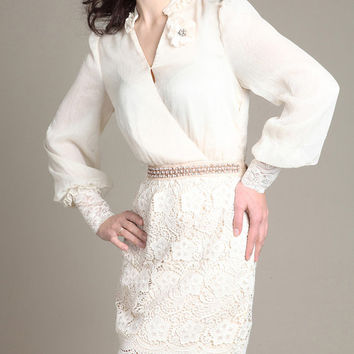 Beige / Black Chiffon lace dress womens dress long sleeve dress fashion dress long dress ---WD092