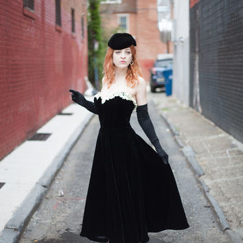 Vintage Black Velvet Strapless gown with sweatheart neckline, cream lace detail and matching cape-let with victorian buttons