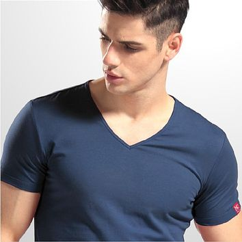 NaChuan T-shirt Men Classic Max 4XL solid color V neck short sleeves lycra cotton 96% cotton t shirt for man 10 colors HH012V