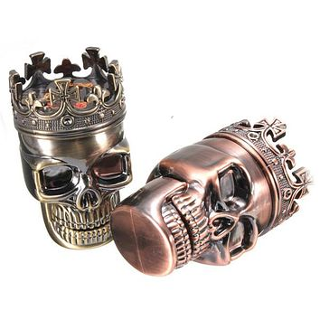 Smoking Pipes King Skull Shape Metal Tobacco Grinder Cigarette Pipe Herb Smoke Cigar Hand Muller Magnetic Smoking Accessories