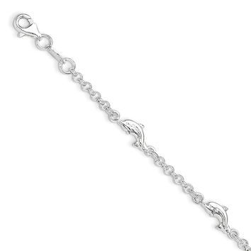 Sterling Silver Dolphin Shapes With .5in Ext. Children\'s Bracelet