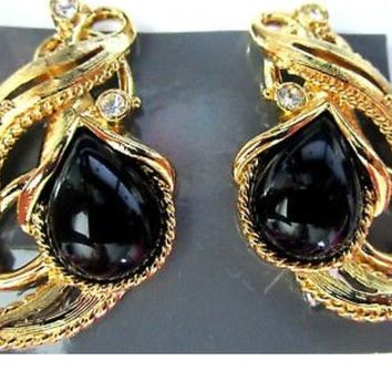 Beautiful  Goldtone clip with black cabochons & sparkling ice rhinestones  Signed JOSE MARIE BARRERA Granada Clip Earrings In Ori