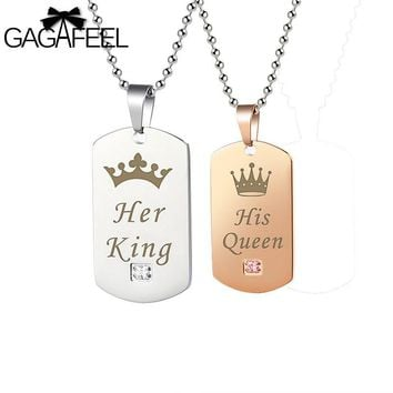 GAGAFFEL Engrave Custom Couple Necklace Dog Tag Military Army Cards Jewelry Her King & His Queen Silver Stainless Steel Bracelet
