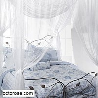 OctoRose ® 4 Poster Bed Canopy Netting Functional Mosquito Net Full Queen King (Butter Cream)