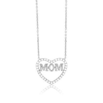 Mom Heart Necklace with Flawless CZ