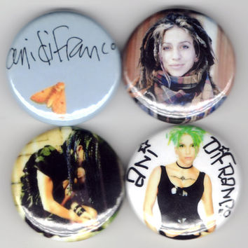 Ani DiFranco - Set of 4 - Evolve Feminist Riot Grrrl Folk Rock Political Feminism Indie Buttons Pins Badges Pinback