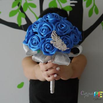 Something Blue Satin Ribbon Rose Wedding Bouquet with feather brooch, Handmade