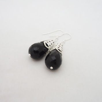 Black Onyx Earrings, Black Onyx Chunky Earrings, Gemstone Dangle Earrings