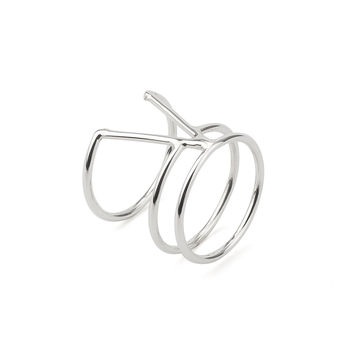 V Shaped Triple Bar Sterling Silver 925 Ring