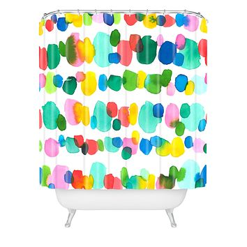 Jacqueline Maldonado Paradise Watercolor Dots Shower Curtain