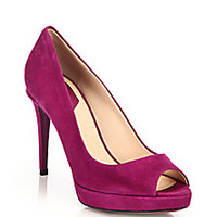 Fendi - Sophia Suede Peep-Toe Pumps - Saks Fifth Avenue Mobile