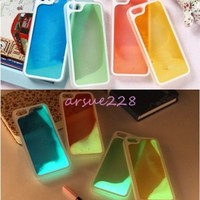 Creative Fluorescent Running Sand Liquid Hard Cover Case For iPhone 4 4S 5 5S