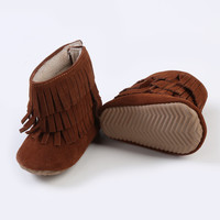 Rubber Sole Fringe Boots-Brown