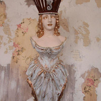 Ship figurehead Statue wall hanging distressed pale blue w/ gold rhinestone embellished bow maiden w/ crown shabby decor anita spero design