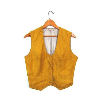 Yellow Rod Nubuck Suede Vest Supple Leather Button Up Cropped POCKETS Cowgirl Sleeveless Shirt Bohemian Hippie Vintage Small Medium Louannes