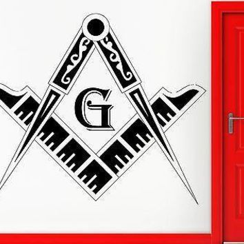 Wall Stickers Vinyl Decal Masonic Conspiracy and Compass Freemasons Unique Gift (z1158)