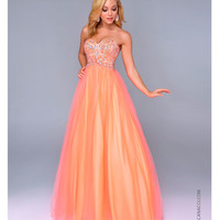 (PRE-ORDER) Nina Canacci 2014 Prom Dresses - Neon Orange Chiffon & Beaded Bodice Ball Gown
