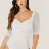 Sweetheart Neck Ruched Bodysuit