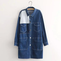 Denim Long-Sleeve Pocket Collar Button Dress Shirt