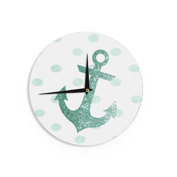 "Nika Martinez ""Glitter Anchor in Mint"" Teal Wall Clock"