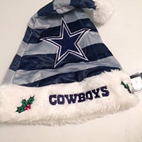 NFL Dallas Cowboys Striped Santa Hat, Blue