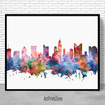 Columbus Skyline, Columbus Print, Columbus Ohio, Office Decor, Office Art, Watercolor Skyline, Watercolor City Print, ArtPrintZone