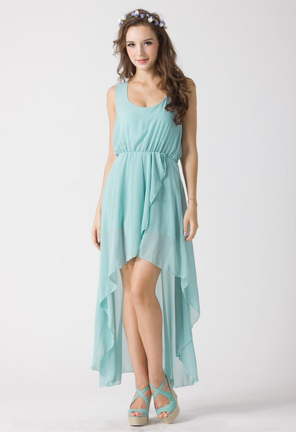 Turquoise Asymmetric High-Low Sleeveless Dress
