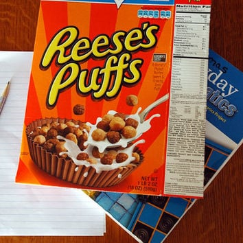 upcycled two pocket vintage inspired Peanut Butter cup cereal box kids school folder