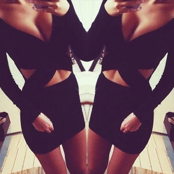 Black Deep V Cut-Out Waist Mini Dress