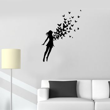 Wall Decal Girl Jumping Flying Butterfly Woman Vinyl Sticker (ed1111)
