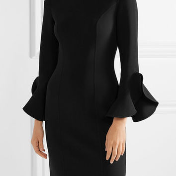 Michael Kors Collection - Ruffle-trimmed wool-blend crepe dress