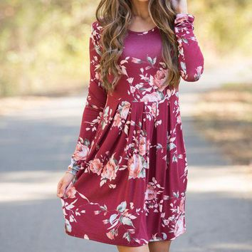 ac ICIK83Q Long Sleeve Winter Hot Sale Print One Piece Dress [110331002905]