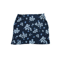 Navy Floral Skirt Dark Blue Mini Flower Print Soft Grunge Short Spring Daisy Summer Flirty Ditsy Skirt Made in the USA Size Medium