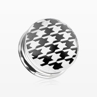 A Pair of Houndstooth Clear UV Double Flared Ear Gauge Plug