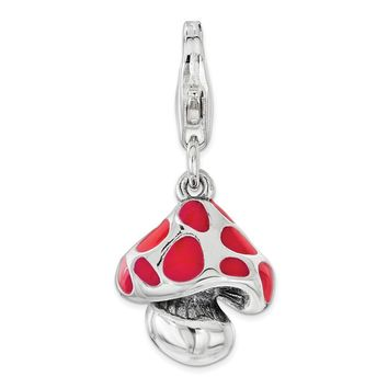 Sterling Silver Red Enameled Mushroom with Lobster Clasp Charm
