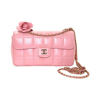 Chanel Pink Lambskin Chocolate Bar Quilted Camellia Bag