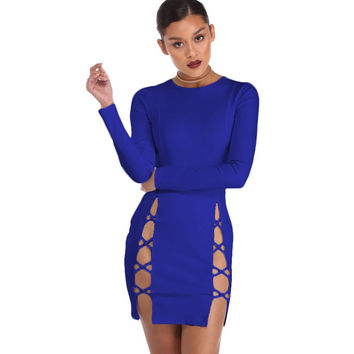 Hot Slits Blue Mini Dress